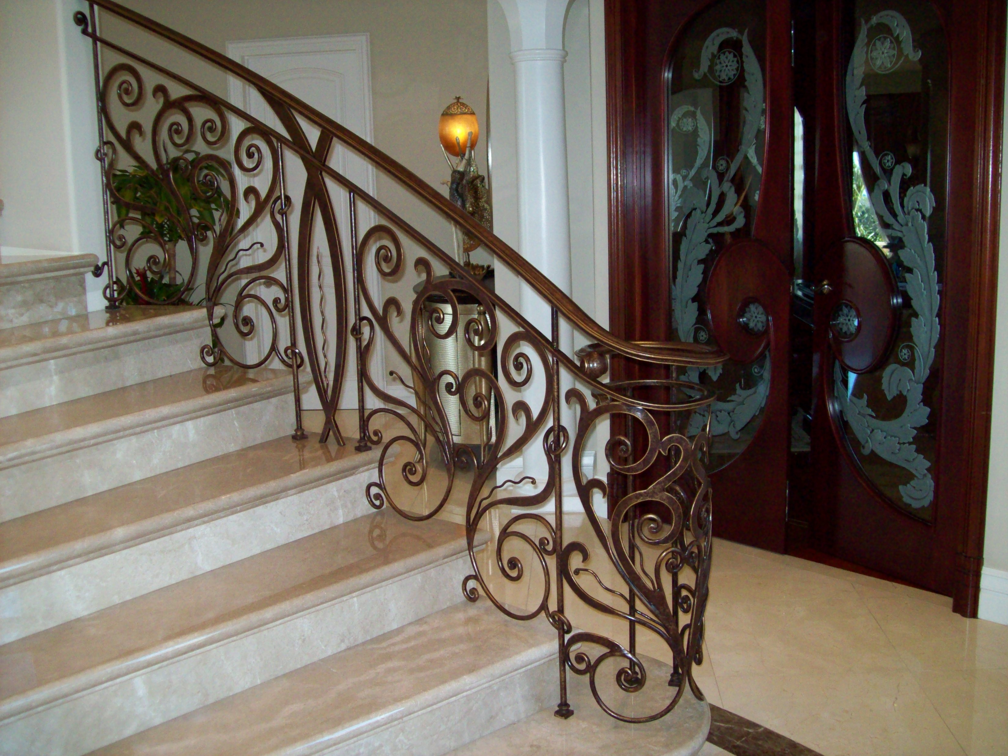 Interior ornamental iron work v m iron works inc in for Interior iron railing designs
