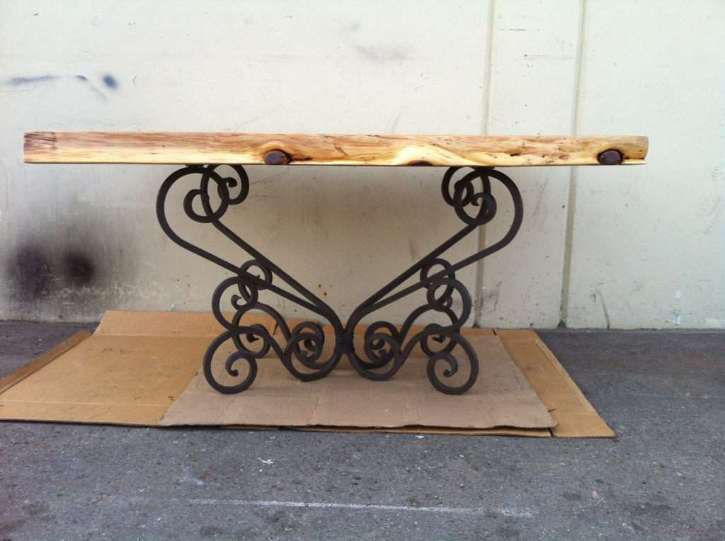 Wood Table With Iron Base. Tables   V   M Iron works inc  in the San Jose Bay Area
